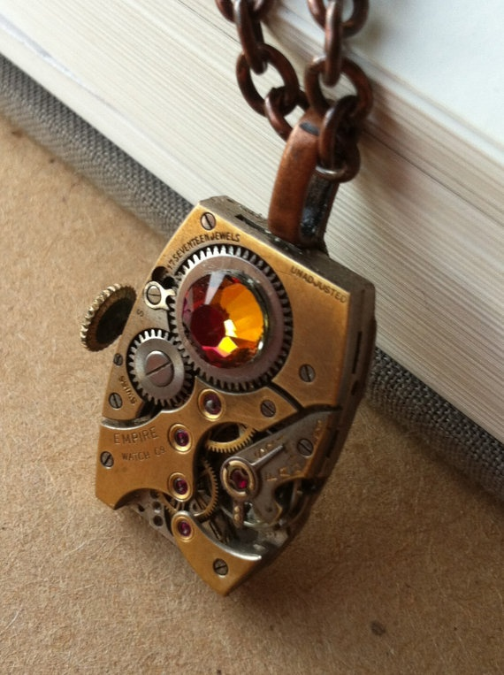 SteamPunk 17 Jewels Necklace with a Volcano by fuegodelcorazon, $40.00