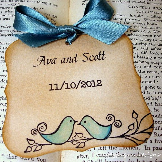 The Love Birds Vintage Save The Date Magnet by craftypagan on Etsy, $3.36