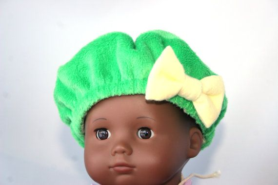 Solid Green Minky Doll Beret lined with Yellow Flannel