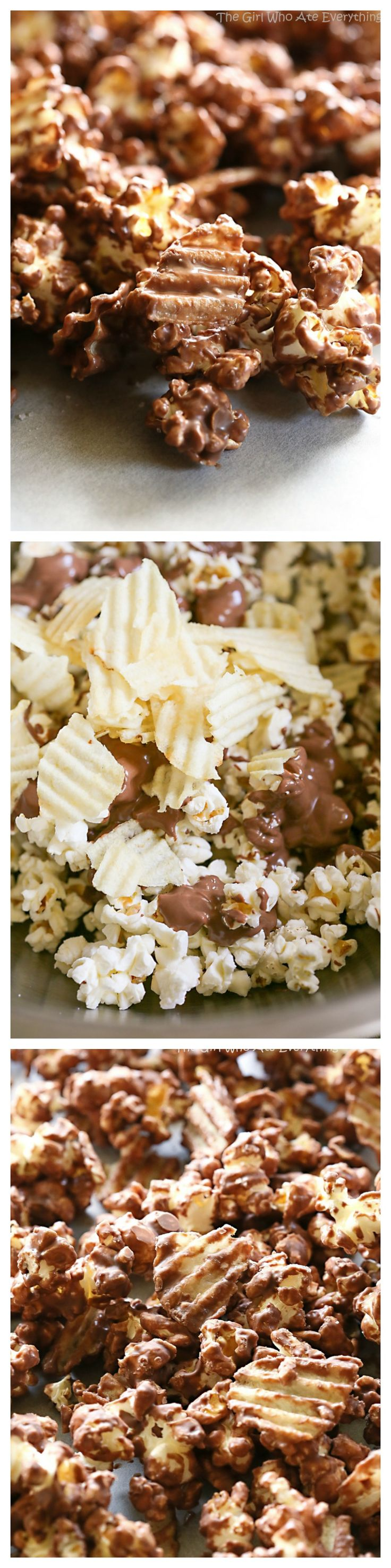 This Chocolate-covered Potato Chip Popcorn is a sweet and salty treat that is so addicting. the-girl-who-ate-everything.com