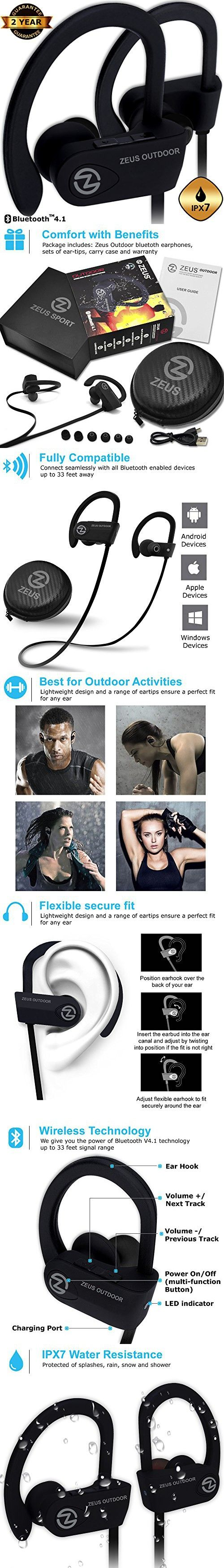Waterproof Wireless Bluetooth Headphones ZEUS OUTDOOR a HD Sound Best Wireless Earbuds Earphones with Microphone Workout Running Sport Headphones Bluetooth Headset for Gym Best Father Day Gifts Man
