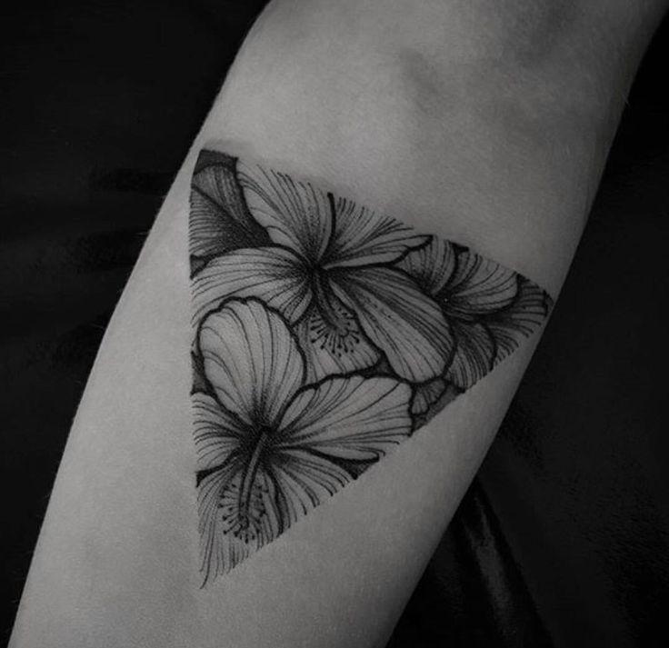 Black work tattoo hibiscus