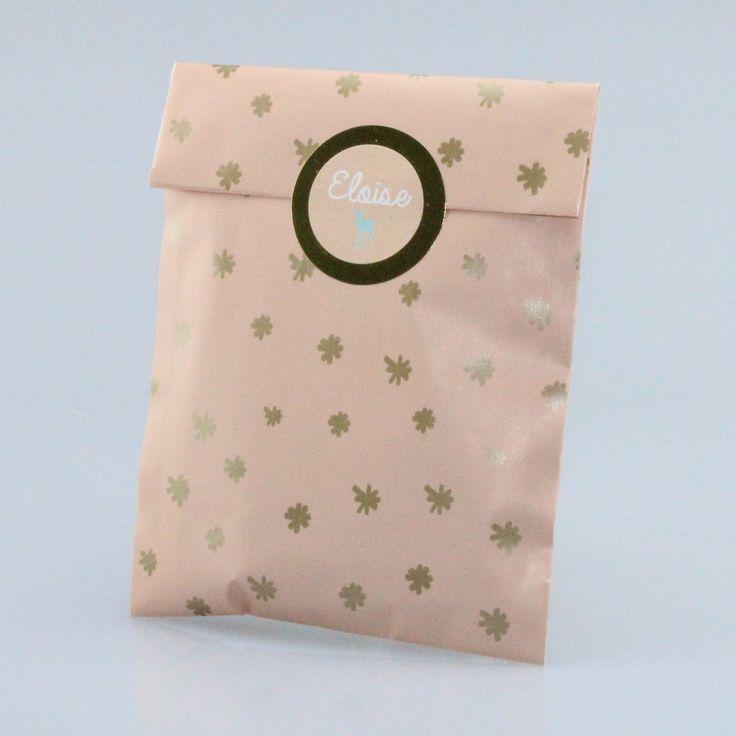 Vintage pink bag met gouden sterren