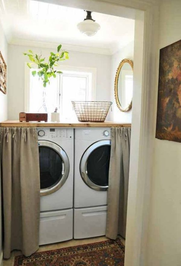 20 small laundry room ideas for front loaded washer and dryers.   Great way to hide the washer and dryer