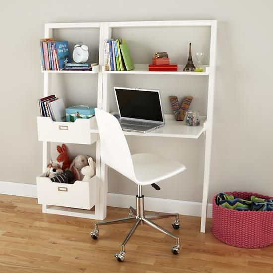 The Land of Nod | Kids' Desk: Kids White Leaning Wall Desk in Desks & Chairs