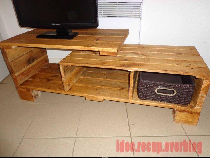 meuble tv en palette idee recup plus meuble tv meubles palette meuble ...