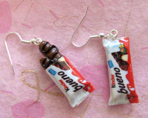 """earrings """" kinder bueno"""" miniatures on hooks"""