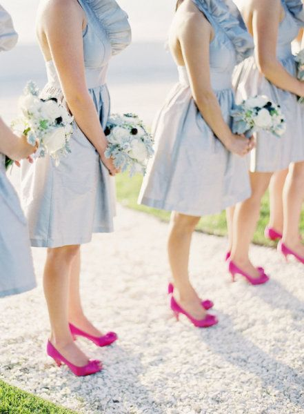 Soft blue bridesmaid dresses paired with fuchsia heels for Blue shoes for wedding dress
