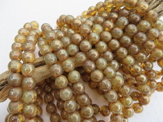 Champagne 6mm DRUK beads with shimmering Picasso finish (25 beads full strand )