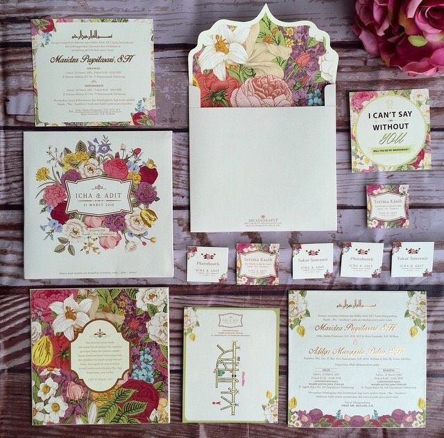 58 best wedding invitation images on pinterest bridal colorful floral wedding invitation suite envelope liner project by micasa jakarta http stopboris Images