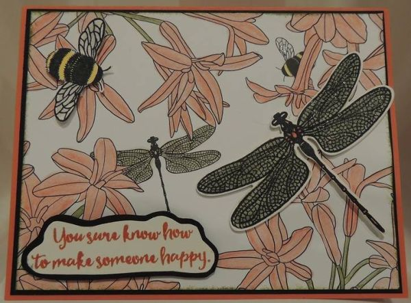 Sale a Bration floral card featuring Stampin' Up! Inside the Lines designer paper and Detailed Dragonfly - new for 2017!
