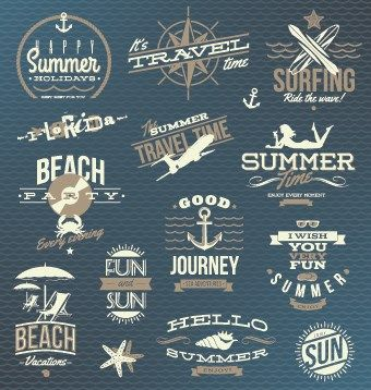 Vintage Summer vacation travel Logos vector 01 | Vector ...