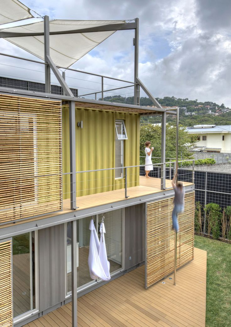 Costa Rican shipping container home with fire pole.