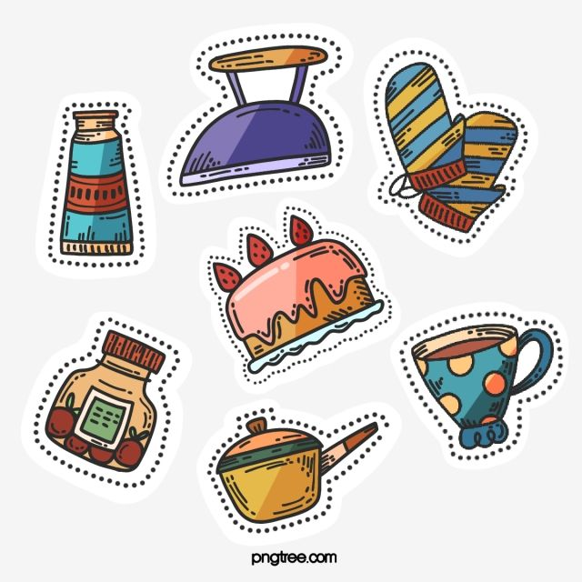 手繪卡通貼紙元素 熨斗 蛋糕 杯子素材 Psd格式圖案和png圖片免費下載 Cartoon Stickers How To Draw Hands Stickers