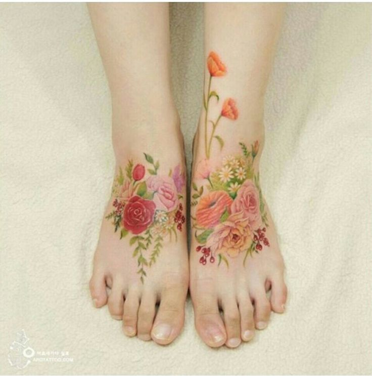 Vintage feel. Gypsy freedom in boho floral body painting and flower tattoos looks great painted on your feet all ready for dancing in the grass