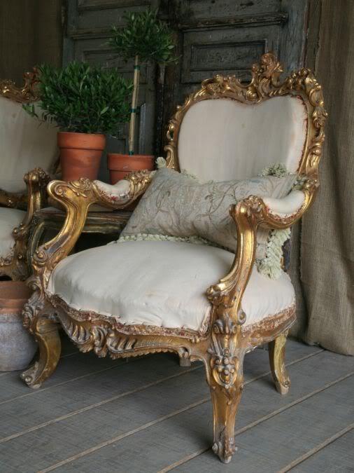 1930s Gilt Wood Italianate Rococo Pair Chairs