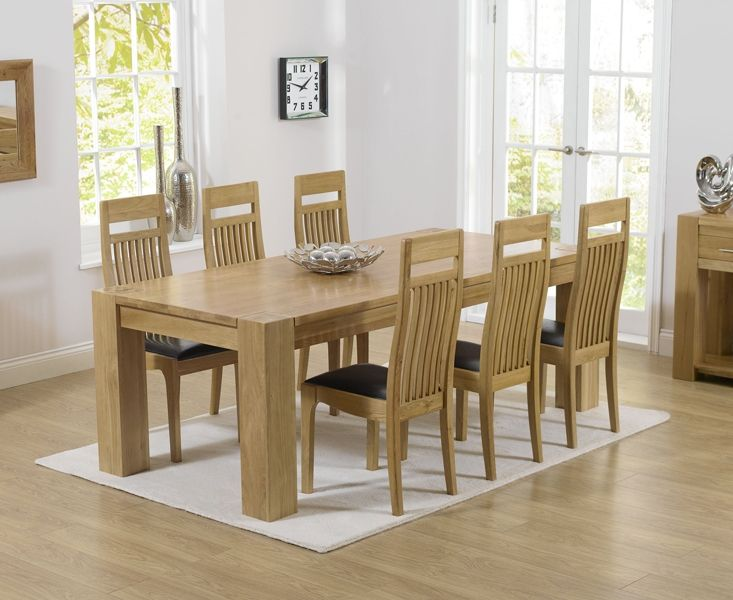 Mark Harris Tampa Oak 220cm Dining Set 6 Monte Carlo Brown