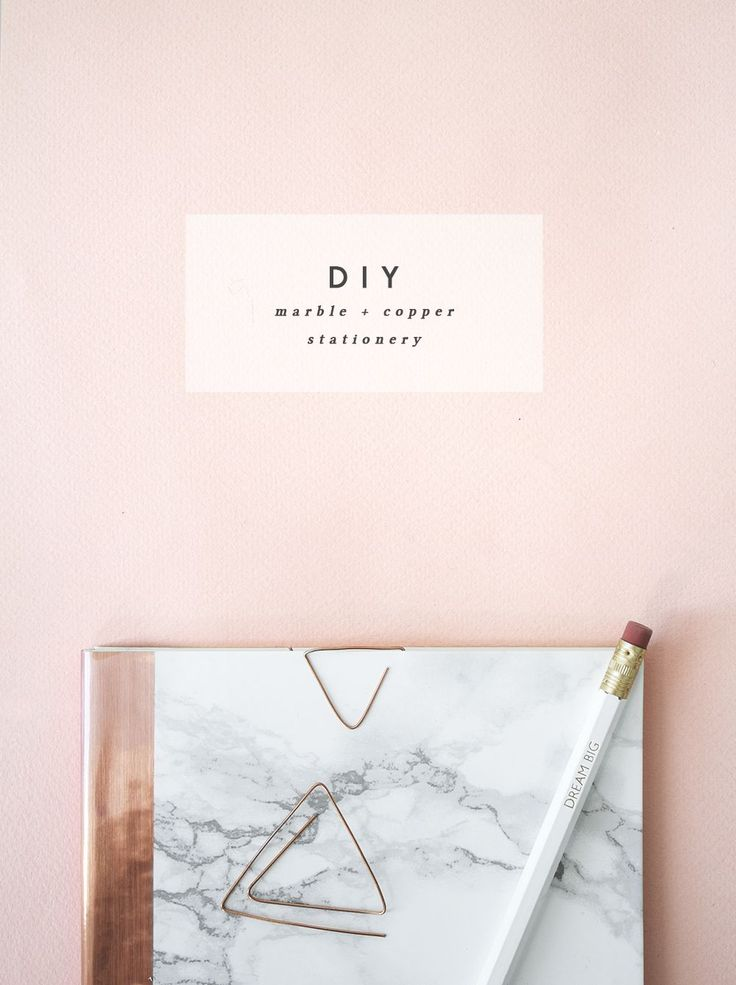 DIY marble and copper stationery