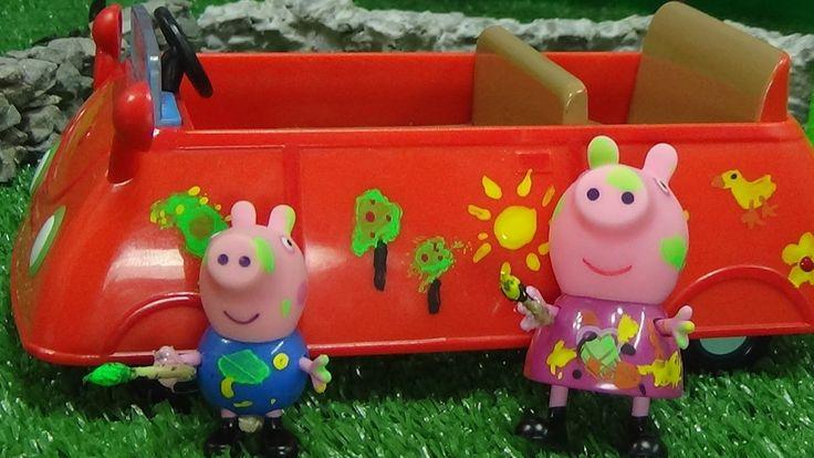 Peppa Pig y George Decoran el Coche de Papa Pig