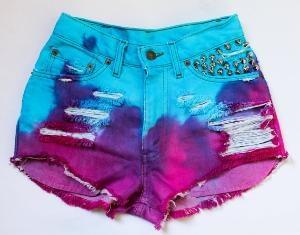 Cute Tie Pants: Pink Shorts, Dips Dyes, Ties Dyes Shorts, Aqua Purple, Bright Aqua, Jeans Shorts, Denim Shorts, Summer Shorts, Colors Denim