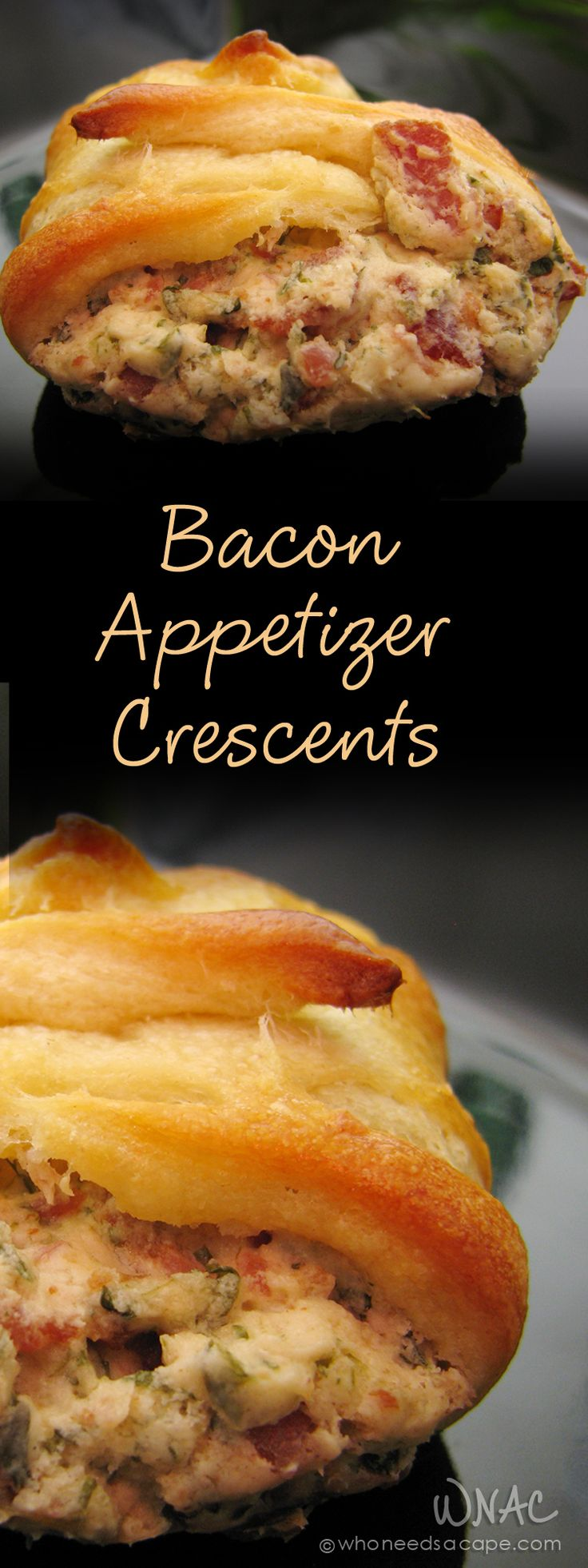Bacon Appetizer Crescents great for tailgating, parties, holidays or just a snack: