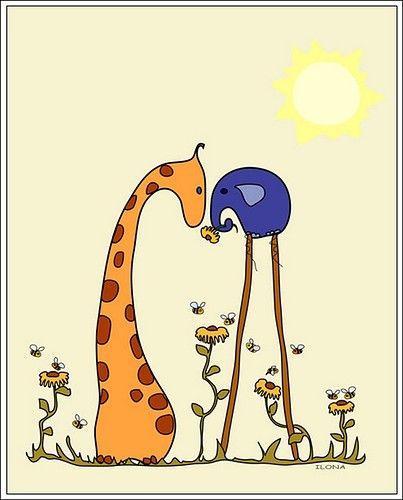 True love will always find a way <3: Animal Illustrations, Favorite Things, Elephant, Art, Giraffe Drawing, Funny Illustration, Children S Illustrations, Giraffes