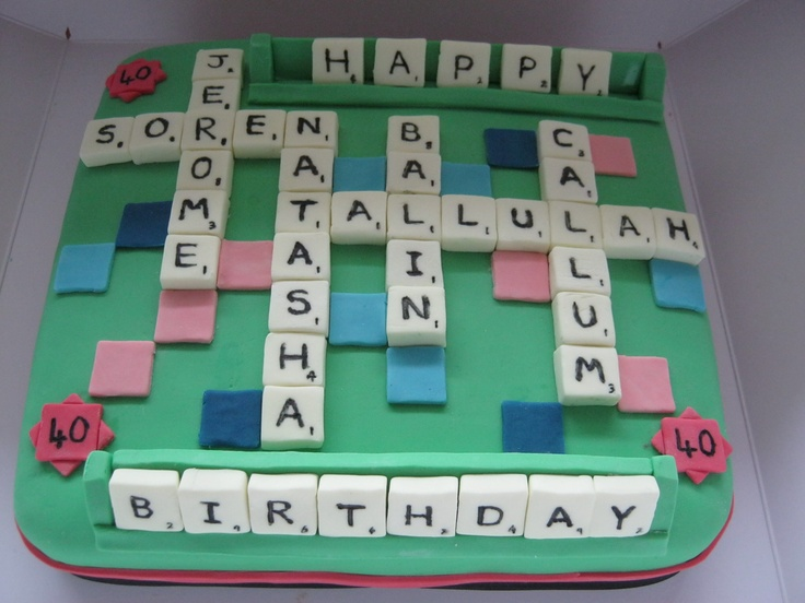 Scrabble Cake - A scrabble Cake for the Dad using his name, his wifes and his 4 childrens names