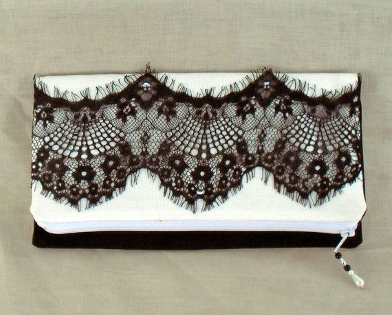 Clutch bag/purse black and white with eyelash by TongueinChicHome, $25.00