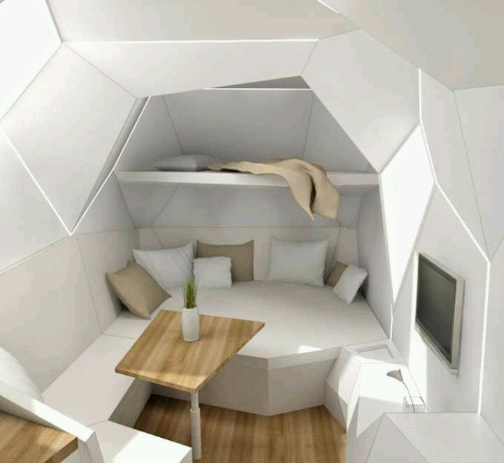 Futuristic rv living room- looks uncomfortable as hell but kind of cool.