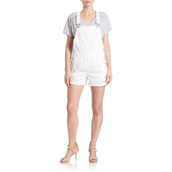 Blank Nyc White Denim Shortalls (1.962.090 VND) ❤ liked on Polyvore featuring plus size women's fashion, plus size clothing, plus size jumpsuits, plus size rompers, as if, short overalls, blanknyc, white short overalls, white rompers and denim rompers