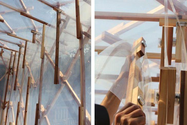 Japanese architect Kengo Kuma's new Sogokagu Design Lab is a pavilion that glows at night thanks to its plastic undulating skin.