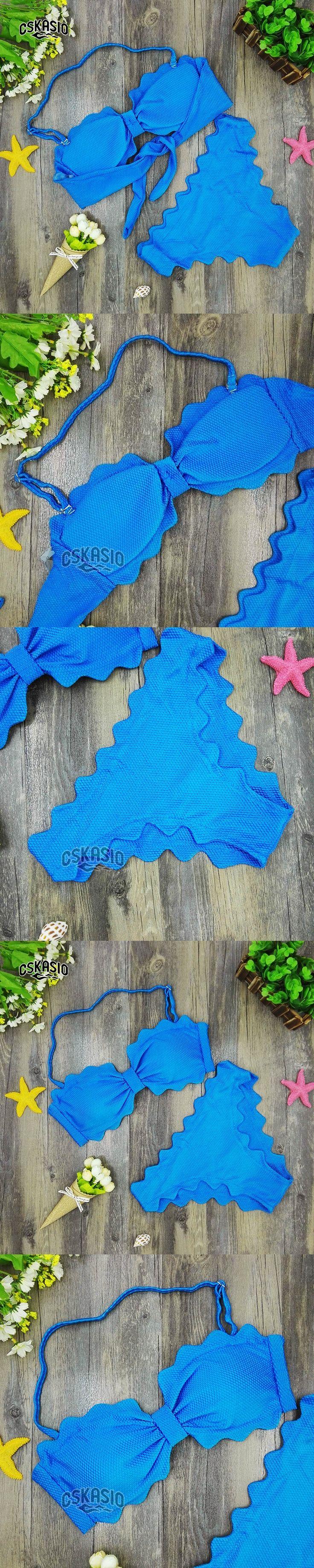 2017 Cute Scalloped Swimwear Women Swimsuit Sexy Bandeau Bikini Set Blue Biquini Padded Bathing Suits maillot de bain femme S-L