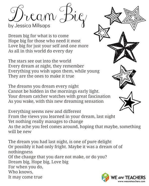 Dream Big printable poem for end-of-the-year celebrations. #weareteachers