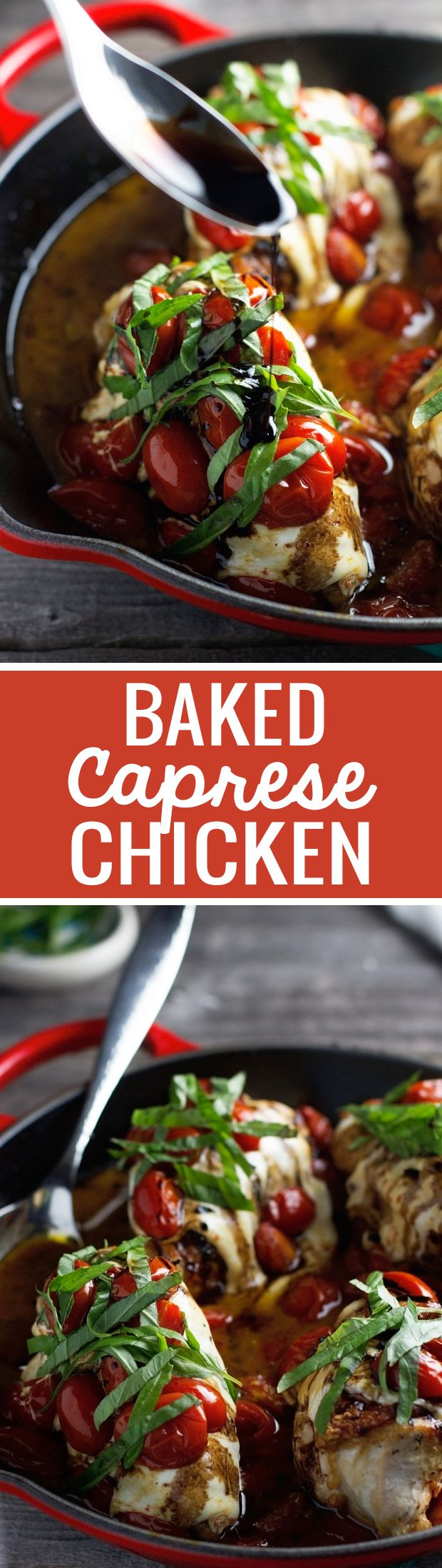 Baked Caprese Chicken - with the most delicious balsamic reduction of your LIFE. Ready in under an hour and perfect and so DELICIOUS!
