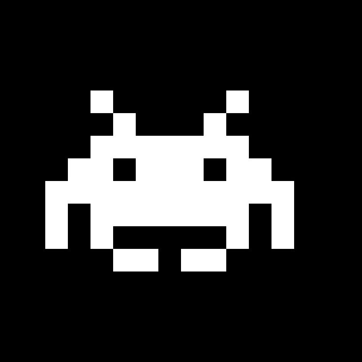 "Pixel art of one of the aliens from ""Space Invaders,"" Taito's immensely popular 1978 arcade game."