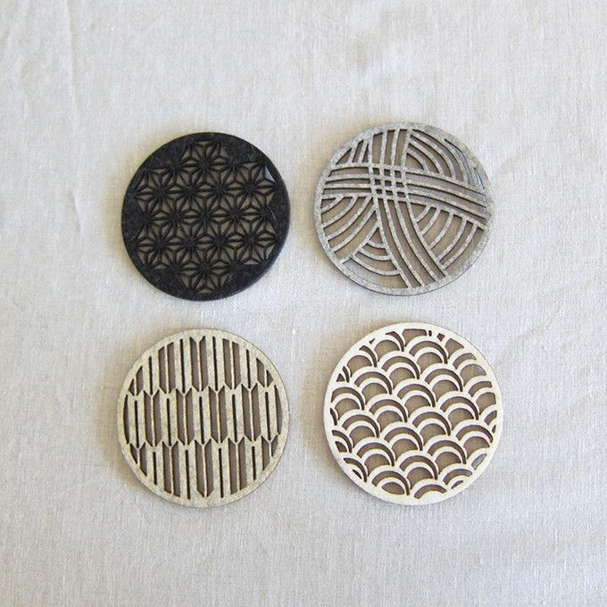 Beautiful laser-cut felt coasters