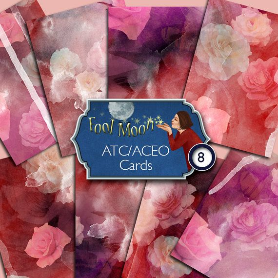Digital ATC, ACEO cards romantic lush pink roses on watercolor background in purple, pink, plum and red for crafts - Roses 01