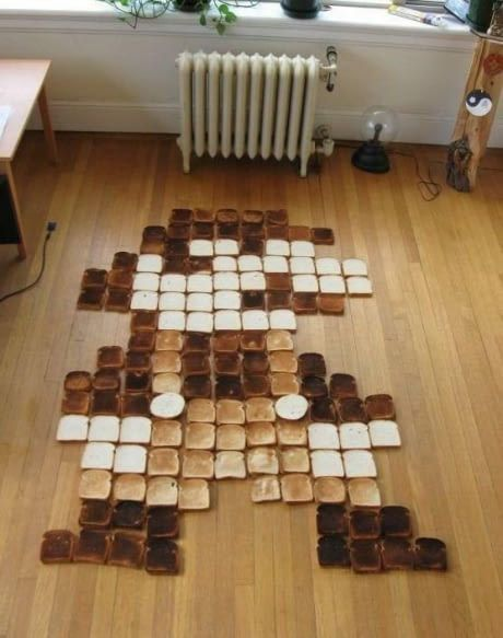 This Mario is made out of toast.