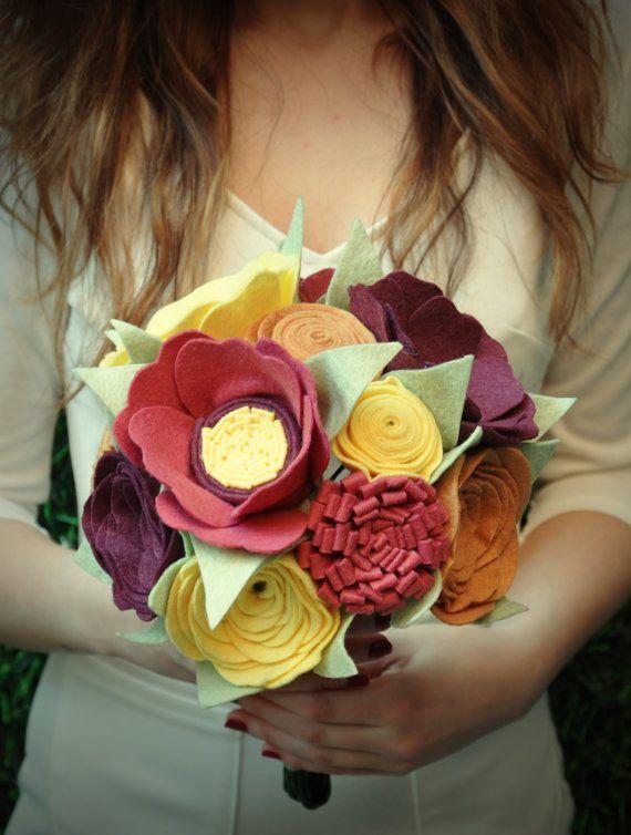 Unique Bridal Bouquet Wedding Bouquet Felt by GalleryMirage