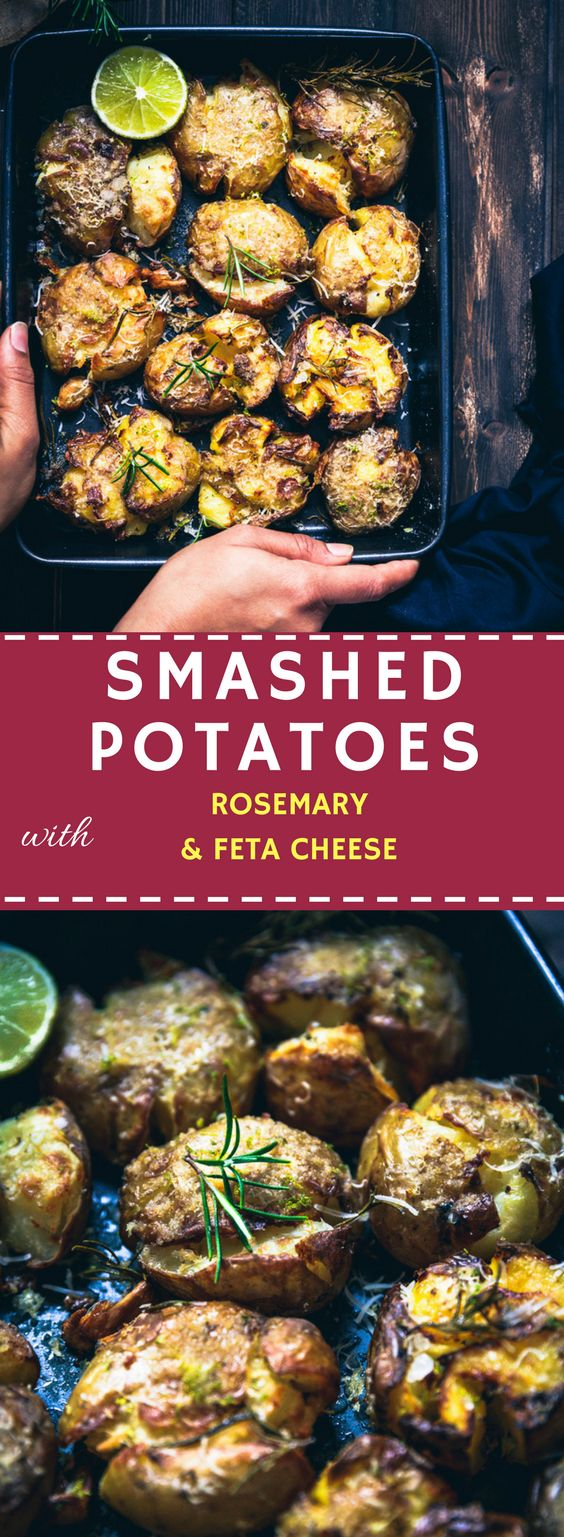 I think that one recipe, that you need for Christmas this year is SMASHED POTATOES with rosemary and feta cheese.  #christmas #potatoes #christmas