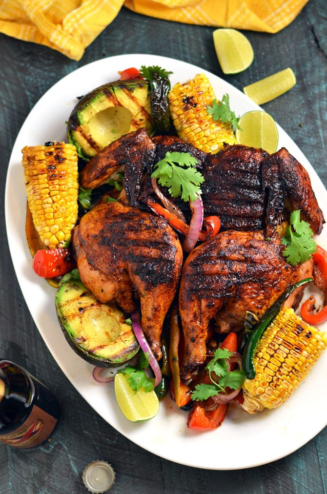 Mexican brick chicken with grilled corn and avocados for Good side dishes for grilled chicken