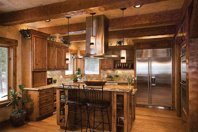 Kitchen in Custom Timber Frame Home: Log Homes, Kitchens, House Ideas, Dream House, Timber Frames