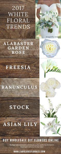 2017 white wedding flower trends! www.fabulousflorals.com The DIY bride's #1…