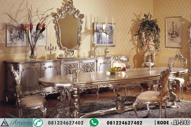 Set Meja Makan Ukir Mewah Bahan Kayu Kualitas Bagus dengan ukiran jepara model eropa, Lengakapi Perabotan rumah anda dengan furniture mewah desain terbaru