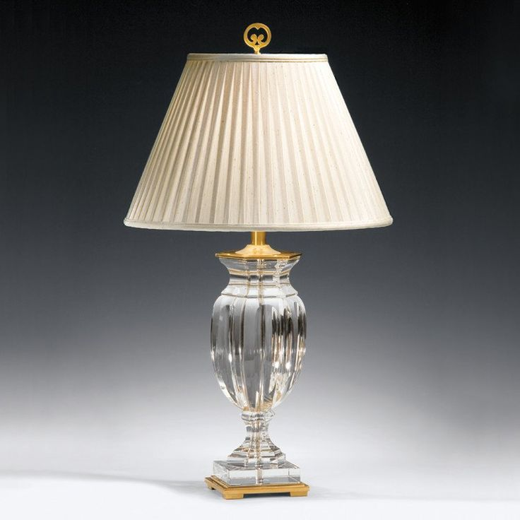 Empire solid crystal and brass table lamp