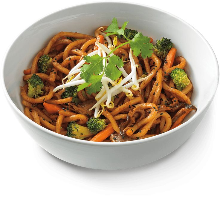 Caramelized udon noodles in a sweet soy sauce, broccoli, carrots, shiitake mushrooms, Asian sprouts, black sesame seeds and cilantro