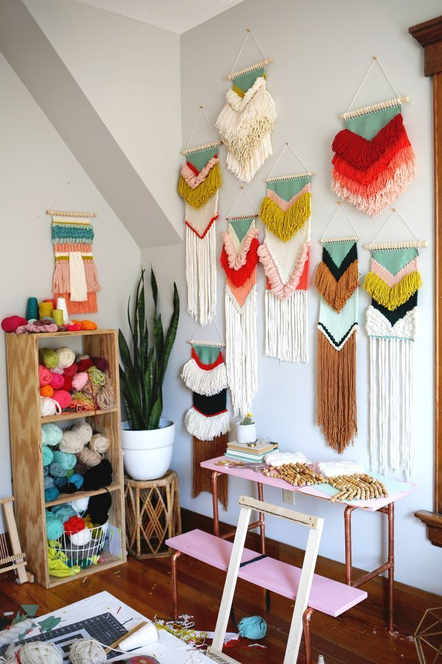 Woven wall hangings by Rachel Denbow of Smile and Wave DIY. March 2016…