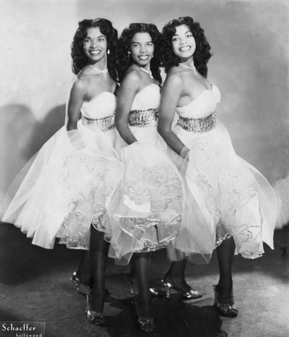 "classicladiesofcolor:  The Harris Sisters — Marcene ""Dimples"" Harris,Beverly Hansen Harris, and Betty Jean Sanford Harris."
