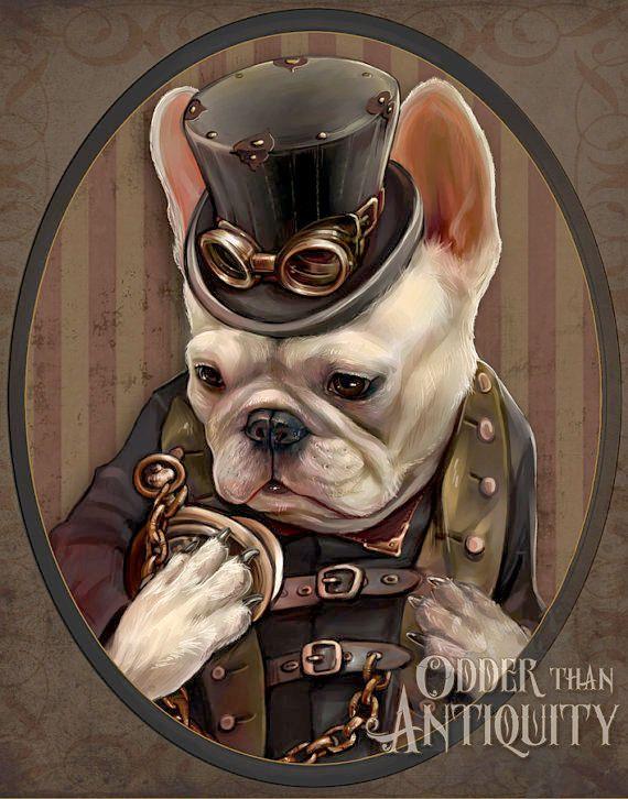 Emerson el Bulldog Francés arte caballero victoriano Steampunk