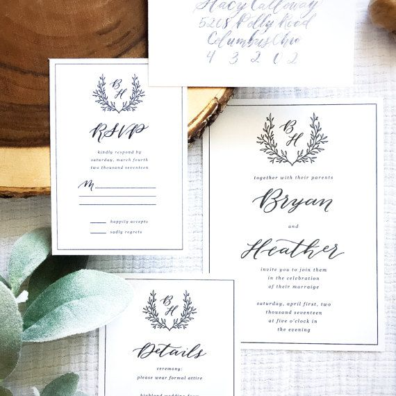 CAMBRIDGE SUITE  The Cambridge Suite is an elegant and classic design that includes a customized monogram for a very personal touch.The monogram is placed inside a traditional crest with a foliage wreath that creates a natural and pretty overall feel.